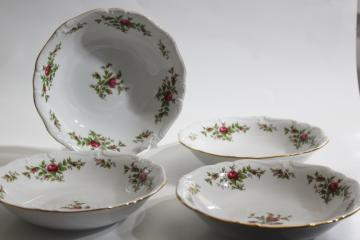 Moss Rose pink roses china Johann Haviland Traditions soup bowls set of four