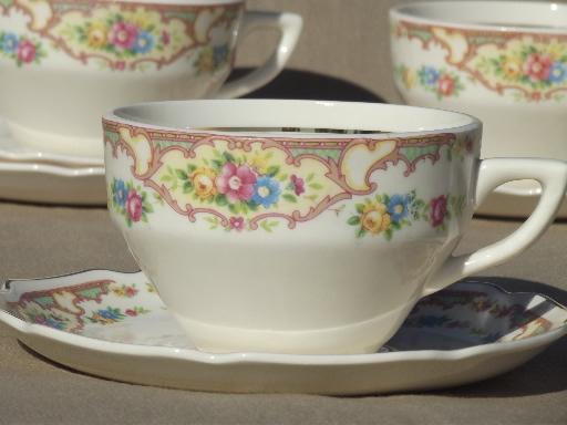 Mount Clemens Mildred china cups & saucers, vintage Mt Clemens pottery
