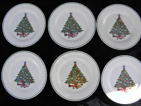 & Mount Mt Clemens pottery lot 6 dinner plates Christmas tree china