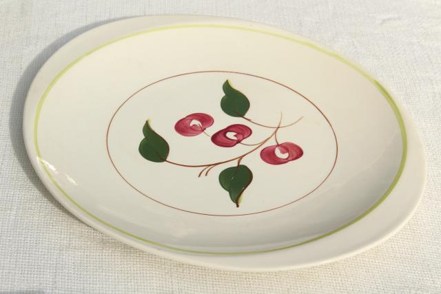 Mountain Cherries Blue Ridge hand painted china platter or tray, red cherry large round plate