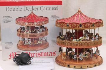 Mr Christmas double decker carousel, electronic music box plays holiday Christmas carols