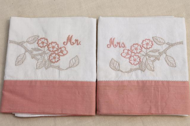 Retro Wedding Gifts: Mr. & Mrs. Vintage Embroidered Cotton Pillowcases, Cute