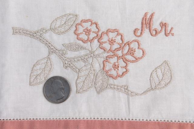 Mr. & Mrs. vintage embroidered cotton pillowcases, cute retro newlywed wedding gift