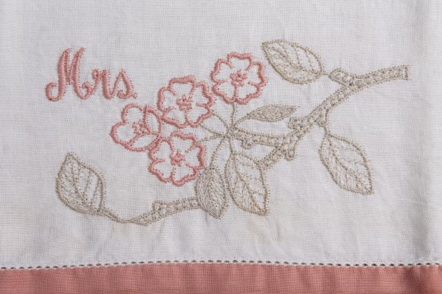 Vintage Wedding Gift For Husband : Pair of 50s or 60s vintage embroidered cotton pillow cases for husband ...