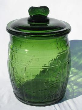 Mr. Peanut store counter canister jar for candy or peanuts, retro green glass