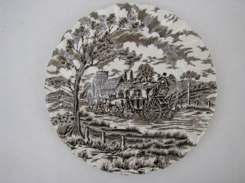 & Myott Royal Mail vintage brown transfer china lot plates cups