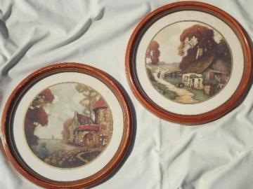 N C Wyeth era cottage scene prints, vintage round framed pictures set