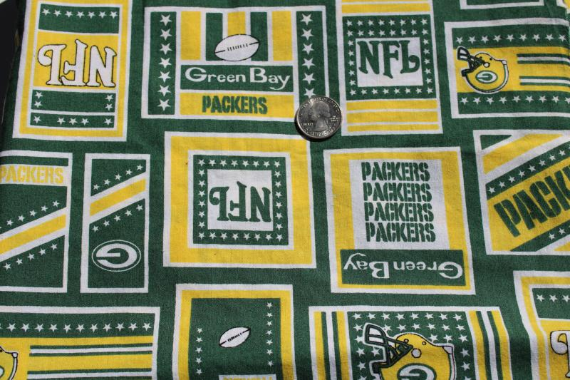 NFL Green Bay Packers print cotton fabric for sports fan gear, craft sewing