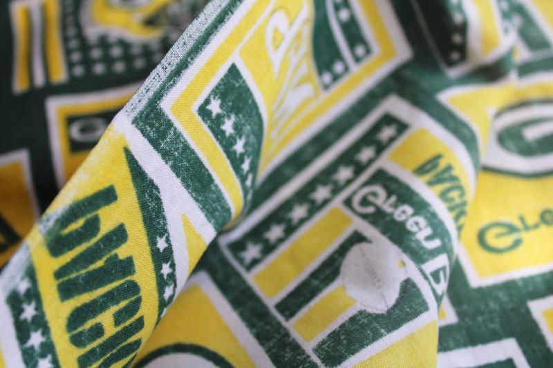 NFL Green Bay Packers print fabric remnant, quilting cotton for crafts etc