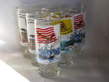 National Flag Foundation 1970s vintage collector's glasses, set of six