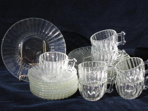 National U0027log Cabinu0027 Pattern 1950s Pressed Glass Dishes, Vintage Jeanette