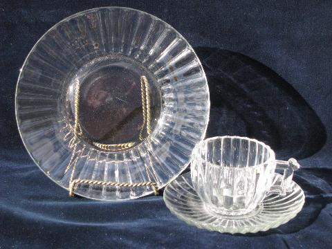 National U0027log Cabinu0027 Pattern 1950s Pressed Glass Dishes, Vintage Jeanette