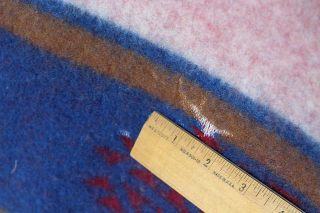 Navajo label Indian camp bed blanket, vintage wool blanket w/ felt binding red & blue