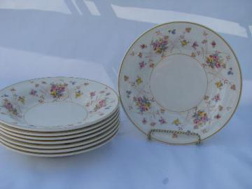 New Princess tiny flowers pattern, vintage American Limoges china, 8 soup bowls