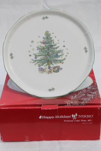 Nikko Happy Holidays china pedestal cake plate, Christmas tree ...