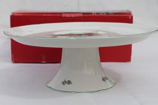 Nikko Happy Holidays china pedestal cake plate, Christmas tree pattern cake stand