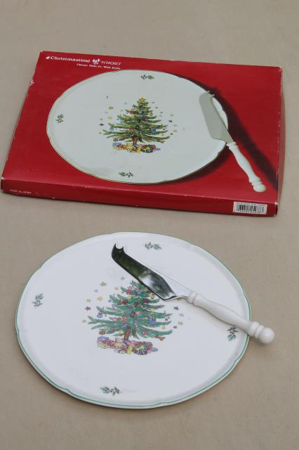 Nikko japan christmastime christmas tree cheese plate amp server knife