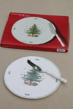 Nikko Japan Christmastime Christmas tree cheese plate & server knife set