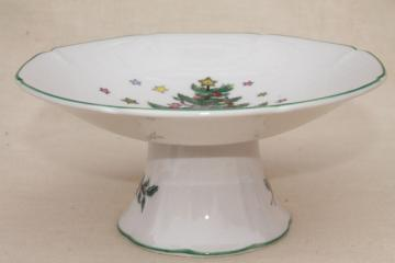 Nikko Japan Happy Holidays Christmas tree china candy dish or small compote