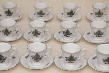Nikko Japan Happy Holidays Christmas tree china vintage cups & saucers set for 12