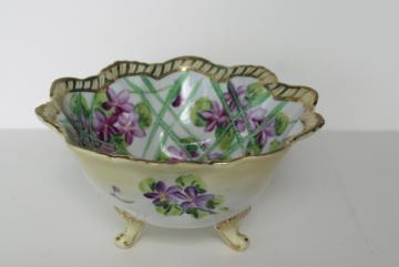 Nippon vintage Japan hand painted china bowl, gold moriage & violets floral