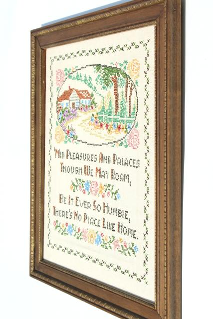 No Place Like Home motto vintage linen cross-stitch sampler, embroidered cottage picture