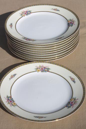 & Noritake Juanita set of 10 dinner plates vintage M mark Noritake china