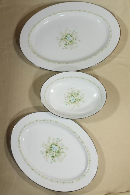 Noritake Poetry pattern china dinnerware, vintage Thanksgiving turkey platter & serving ware