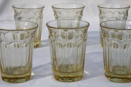 Noritake Provincial honey yellow glass flat tumblers, set of 6 glasses