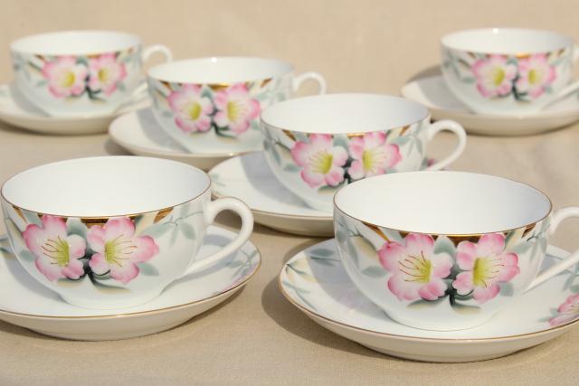 Noritake azalea hand painted china tea cups & saucers set of