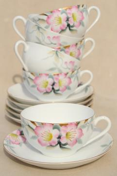 Noritake azalea hand painted china tea cups & saucers set of 6, vintage Japan porcelain