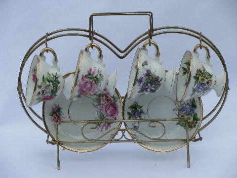 Norleans - Japan vintage wire rack w/ flowered china tea cups & saucers