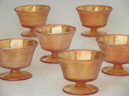 Normandie  pattern sherbet dishes,vintage  marigold iridescent carnival glass