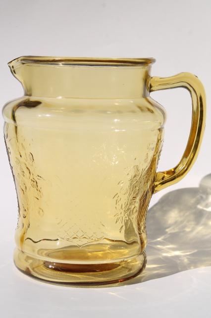 Normandie vintage amber yellow depression glass lemonade set, pitcher and glasses