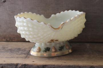 Northwood custard glass bowl, antique seashell seaweed pattern glass dish