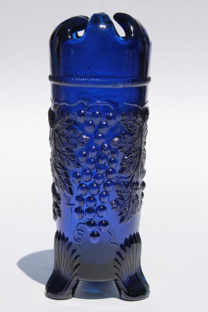 Northwood Grape And Cable Pattern Vintage Mosser Cobalt Blue Glass Vase