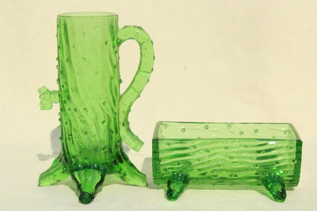 Northwood old well pump & trough pattern pressed glass, green glass vase & planter