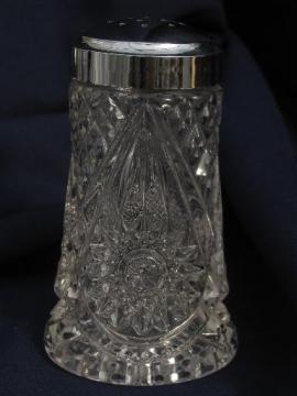 Nucut star pattern, vintage Imperial glass sugar shaker caster castor?