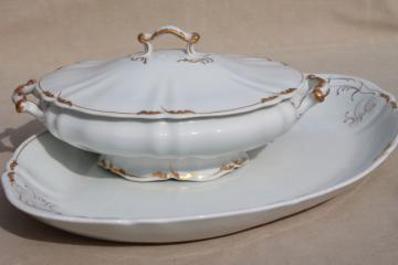 O P Co Syracuse China, vintage covered bowl tureen & large turkey platter, white w/ gold