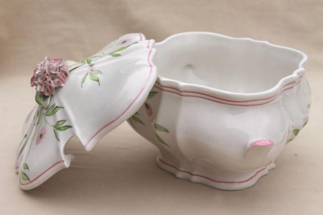 OGG Italy hand painted ceramic tureen w/ carnation flowers, vintage Italian pottery