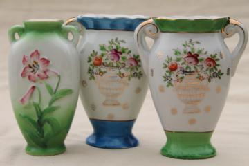 Occupied Japan collection miniature china vases, vintage hand painted porcelain