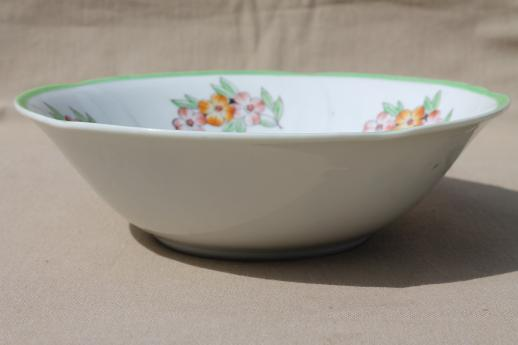 Occupied Japan hand painted china serving dish, large round porcelain bowl w/ flowers