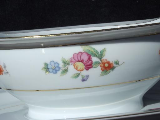 Occupied Japan vintage Noritake hand-painted china gravy boat w/ plate
