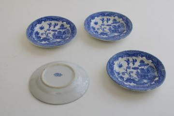 Occupied Japan vintage blue willow china butter pats or tiny plates, set of four