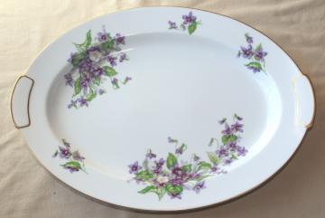 Occupied Japan vintage china w/ violets floral, large serving platter or tray