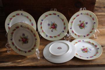 Occupied Japan vintage hand painted china bread or dessert plates, Sango Dresdenia floral