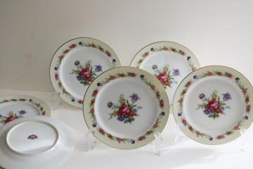 Occupied Japan vintage hand painted china dessert plates, Sango Dresdenia floral