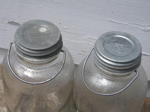 Old 2 qt glass honey jars w/wire handles for pantry storage, original label