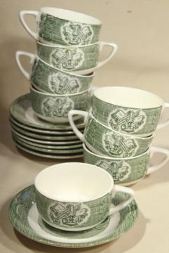 Old Curiosity Shop green transferware, cups & saucers vintage Royal china dinnerware