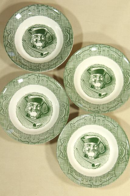 Old Curiosity Shop green transferware, vintage Royal china dinnerware, fruit bowls
